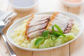 Siu Yuk or sliced Chinese boneless roast pork with crispy skin, serve with steamed rice. Hong Kong C