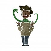 image of strangling  - retro cartoon snake strangling man - JPG