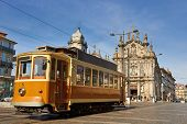 foto of tram  - Old historical street tram in Porto Portugal - JPG