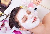 beautiful Woman Getting Facial Mask