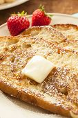 picture of french toast  - Homemade French Toast with Butter and Powdered Sugar - JPG