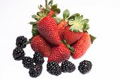 Fresh ripe strawberry with blackberry