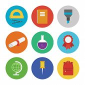 foto of beaker  - Collection of colorful vector icons in modern flat design style on education and learning theme - JPG