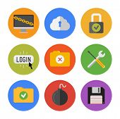 stock photo of security  - Collection of colorful vector icons in modern flat design style on internet security theme - JPG