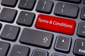 Message On Keyboard, For Terms And Conditions Concepts.