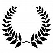 Laurel Wreath Black Silhouette