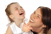 image of mother daughter  - family portrait laughing - JPG