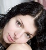 Portrait Young Attractive Brunette Woman
