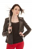 Woman Leather Jacket Gun Hair Blown