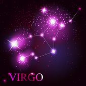Virgo zodiac sign of the beautiful bright stars on the backgroun