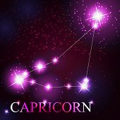 Capricorn zodiac sign of the beautiful bright stars on the backg