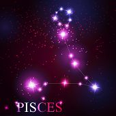 Pisces zodiac sign of the beautiful bright stars on the backgrou