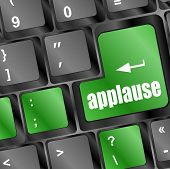 stock photo of applause  - Computer keyboard with applause key  - JPG