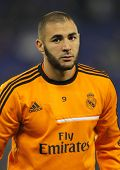 BARCELONA - JAN, 12: Karim Benzema of Real Madrid during the Spanish League match between Espanyol and Real Madrid at the Estadi Cornella on January 12, 2014 in Barcelona, Spain