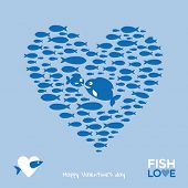 Valentine day greeting - heart shape made of little fishes, creative illustration background