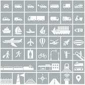 Transportation icons set - rail, water, road, air transport symbols & design elements