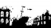 Editable vector foreground silhouette of marine life around a shipwreck and underwater city ruins