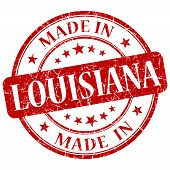 Made In Louisiana Red Round Grunge Isolated Stamp
