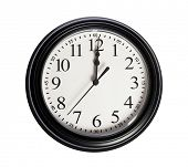 Wall clock shows 12 o'clock on white isolated background