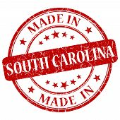 Made In South Carolina Red Round Grunge Isolated Stamp