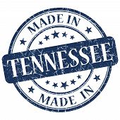 Made In Tennessee Blue Round Grunge Isolated Stamp