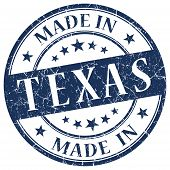 Made In Texas Blue Round Grunge Isolated Stamp
