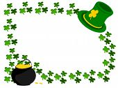 picture of fourleaf  - editable eps vector format jpeg green irish hat in top corner with fourleaf shamrocks around edge with pot of gold coins at bottom of left corner - JPG