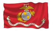 Illustration of United States Marine Corps  flag waving in the wind (see more other flags in my coll