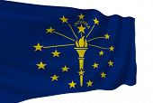 Illustration of Indiana state flag waving in the wind