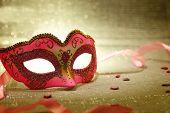 stock photo of female mask  - Vintage pink carnival mask  - JPG