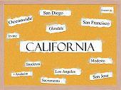 California State Corkboard Word Concept