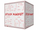 Stock Market Word Cloud Concept On A 3D Cube Whiteboard