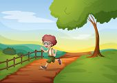 Illustration of a boy running hurriedly at the farm