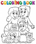 Coloring book family theme - eps10 vector illustration.