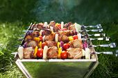 pic of brazier  - Grilled meat on sticks  - JPG