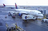 Delta Airlines Boeing 757 aircraft at the gate at John F Kennedy International Airport