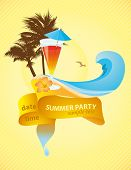 image of beach party  - Tropical vector poster with copyspace on ribbon - JPG