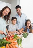Smiling woman with two kids and man chopping vegetables in the kitchen at home