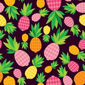 Seamless pineapple illustration exotic fruit background pattern in vector