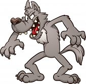 Big bad cartoon wolf. Vector clip art illustration with simple gradients. All in a single layer.