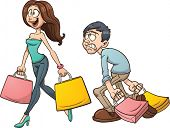 Cartoon couple shopping. Vector clip art illustration with simple gradients. Each character on a separate layer.