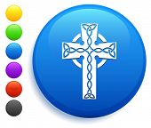 Christian Cross Icon on Round Button Collection