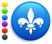 Fleur De Lis Icon on Round Button Collection