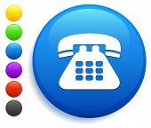 Telephone Icon on Round Button Collection