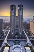 TOKYO, JAPAN - DECEMBER 22, 2012: The Metropolitan Government Building is the headquarters of the Tokyo Metropolitan Government which governs 23 wards and outlying cities of Tokyo.