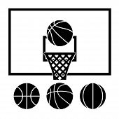 Vector Basketball Net, Backboard Set And Basketball Balls