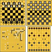 stock photo of draught-board  - larered vector 4  kinds of board games - JPG