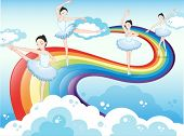 Illustration of the ballet dancers in the sky with a rainbow