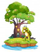 Illustration of an island with a big tree and a turtle on a white background
