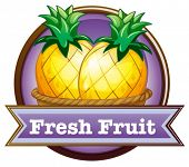 Illustration of a fresh fruit label with pineapples on a white background